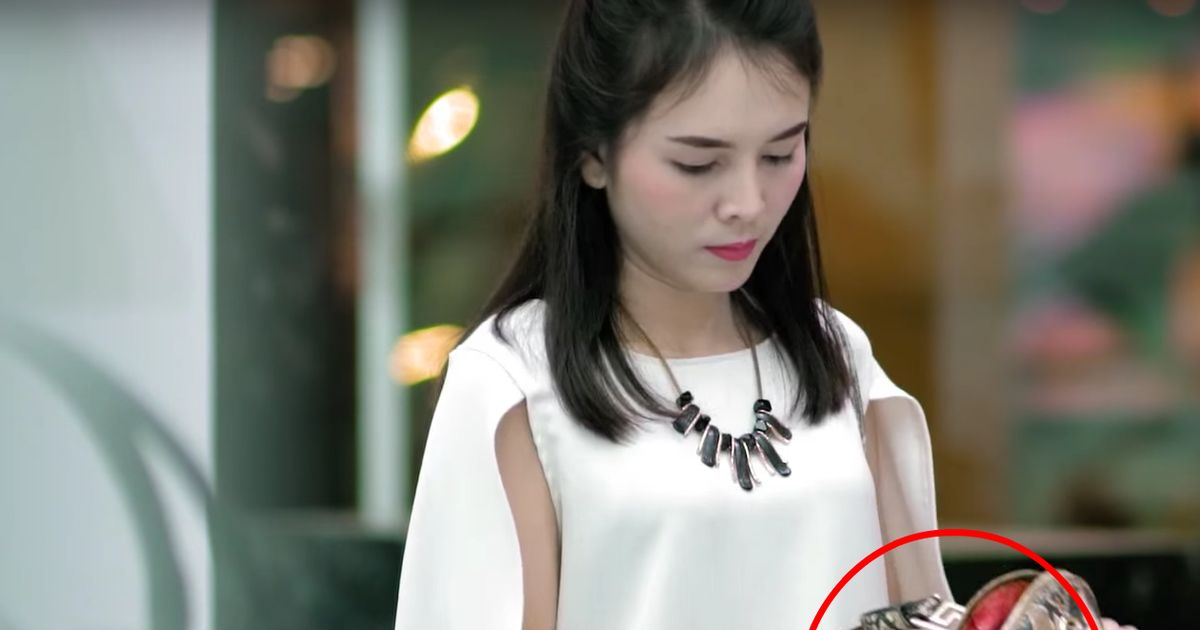 Innocent shoppers were covered in blood after trying on leather goods, and you won't believe why