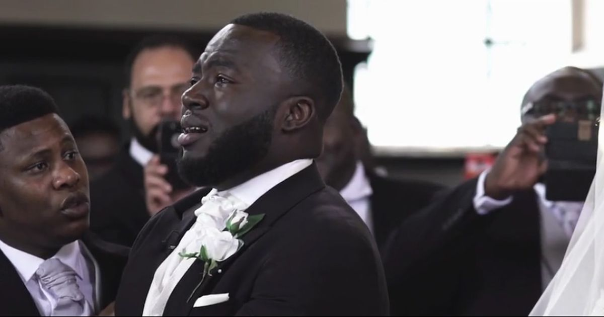 Watch this groom's emotional reaction as his bride walks down the isle