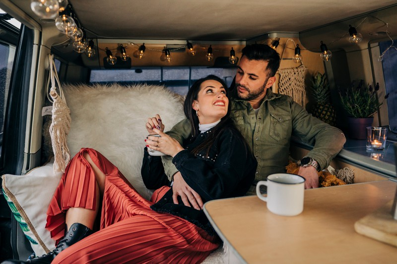 A man breaks up with his girlfriend in their RV.