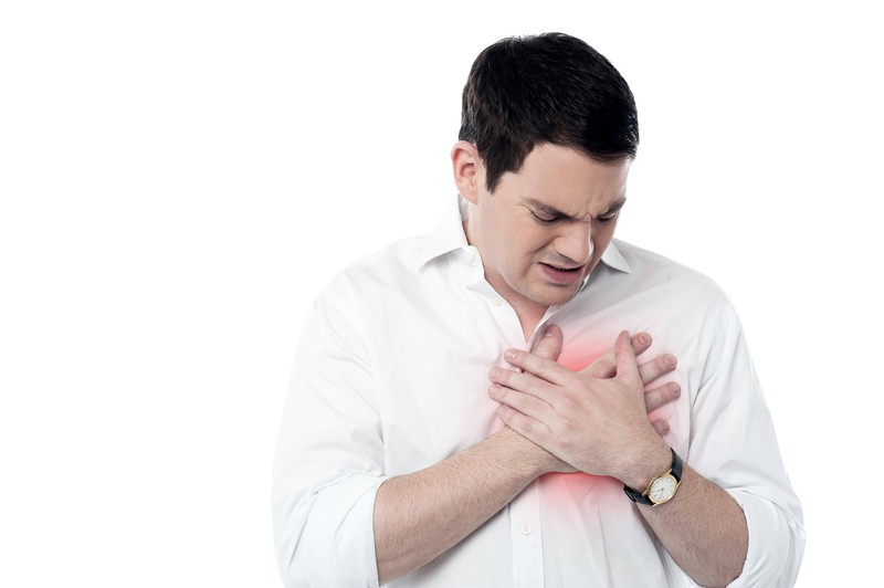 A father is experiencing chest pain.
