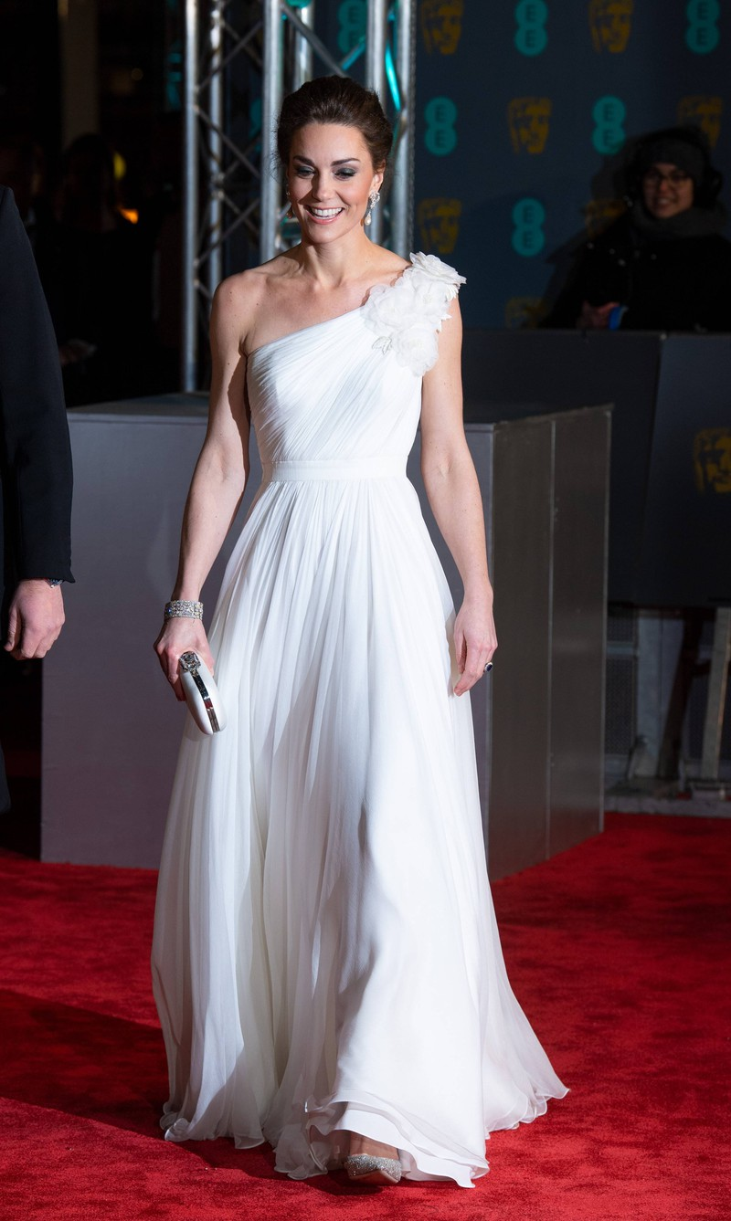 The Duchess of Cambridge looks angelic in a white gown at the BAFTA gala.