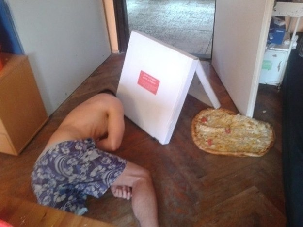 It hurts to see pizza fall onto the floor.