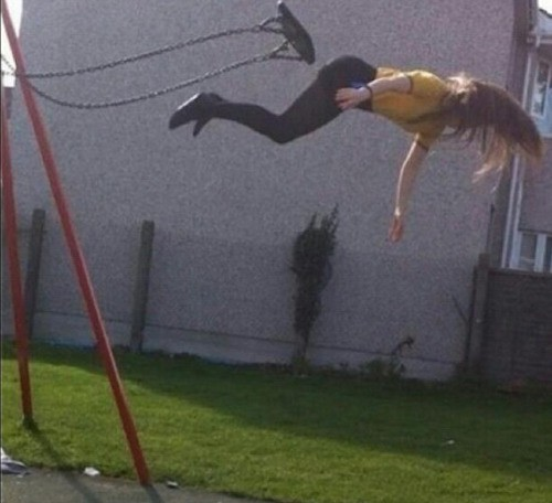 It must have been quite painful to fall from a swing like this.
