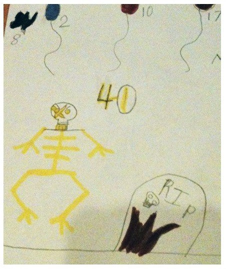 A child drew a grave because someone turned 40.
