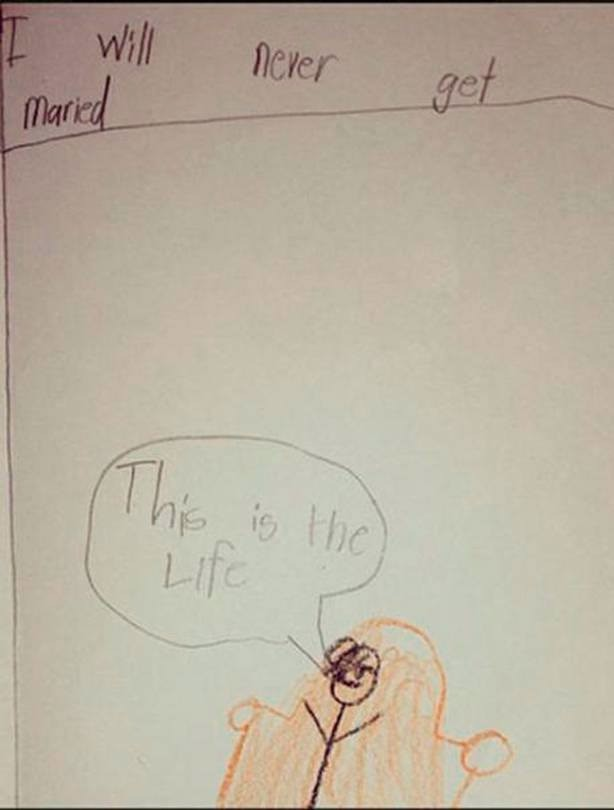 The kid draws that it's never gonna get married.