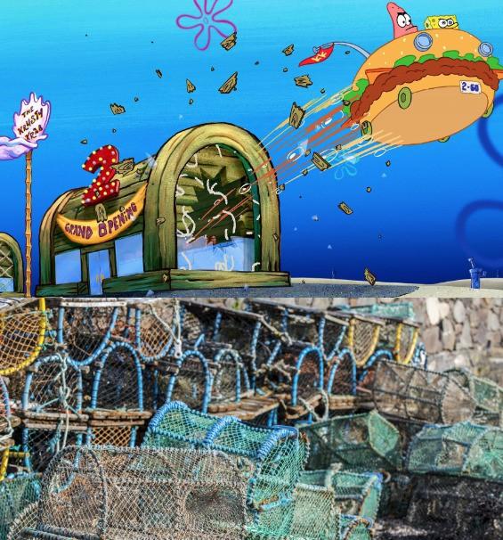 "The Krusty Krab in ""SpongeBob Squarepants"" is made of a crab trap."