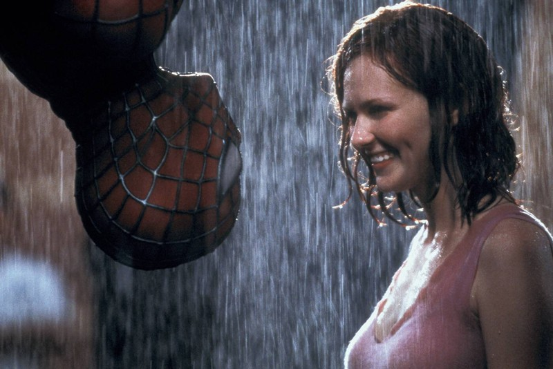Tobey Maguire as Spider Man had to kiss Kristen Dunst while hanging upside down.