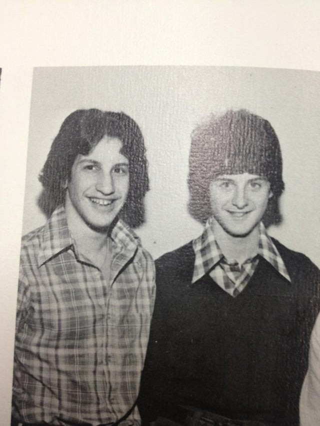 Two young men from the 70s resemble two Celebs from today.