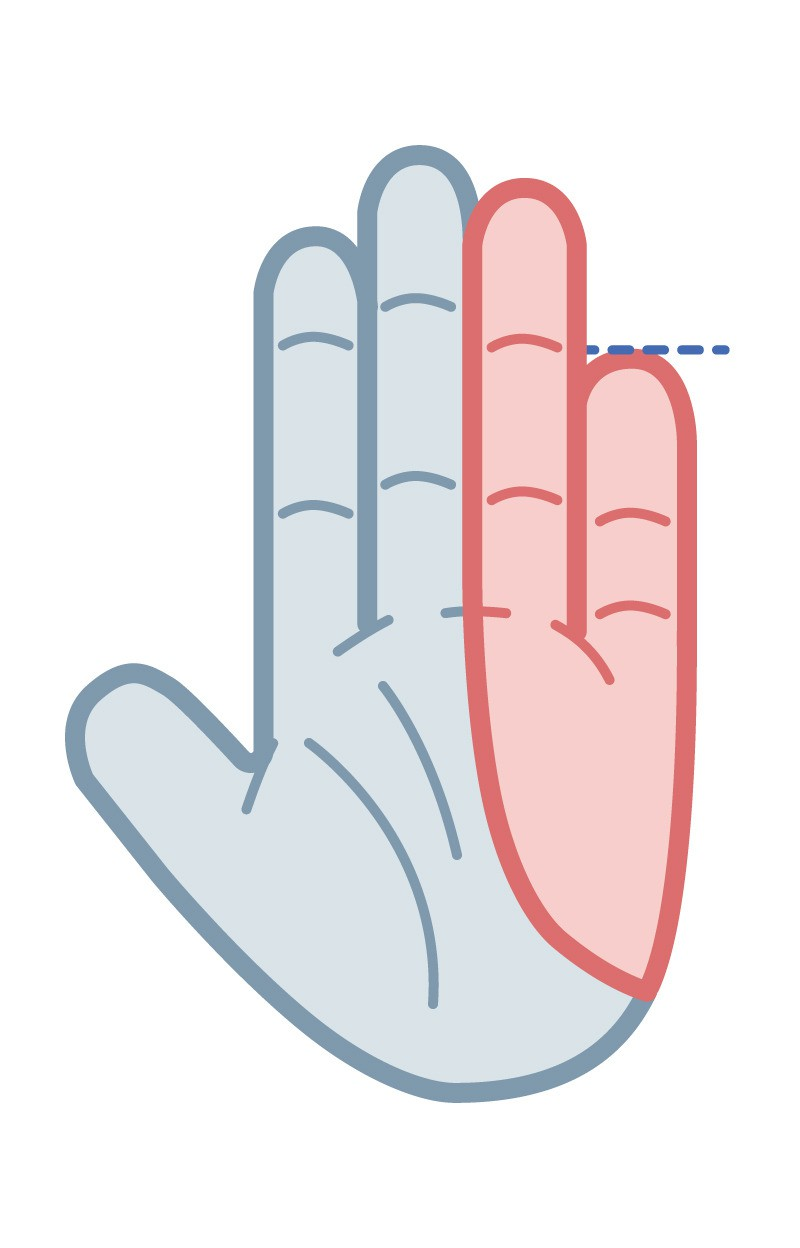 Your pinky goes exactly up to the crease of your ring finger.