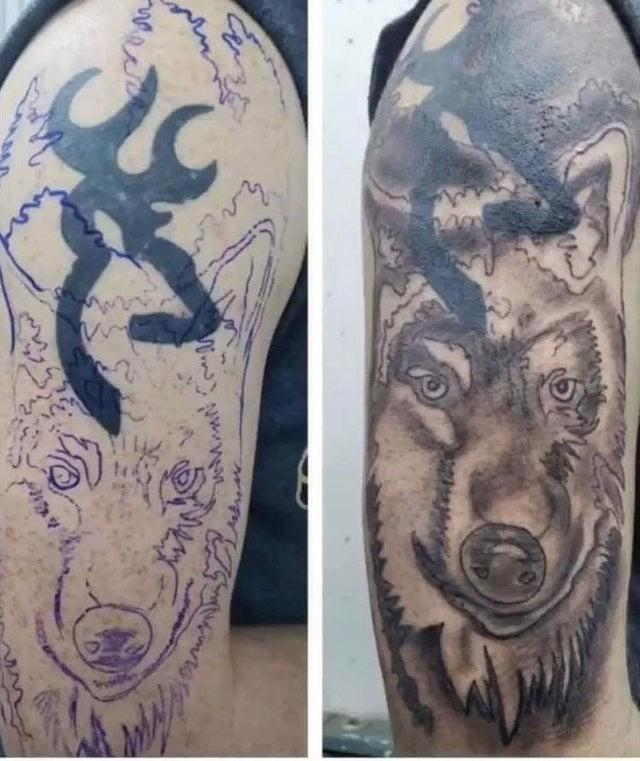 A failed correction of an old tattoo.