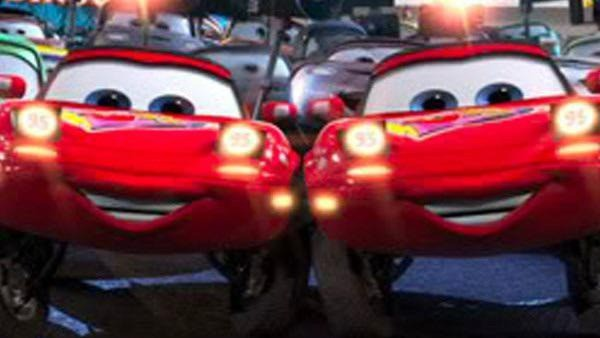"Mia and Tia present their headlights to ""Cars""."