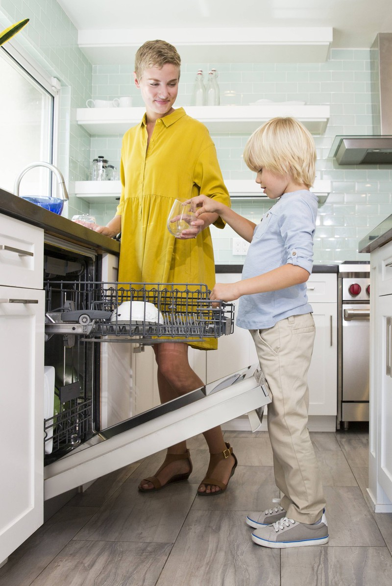 The trick to the dishwasher is that the top rack is adjustable in height.
