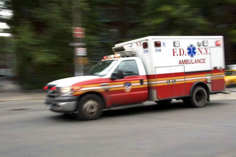 An ambulances races to a patient who's had a heart attack.