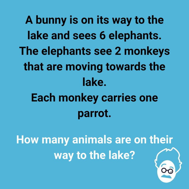 Our quiz wants you to find out how many animals are walking towards the lake.