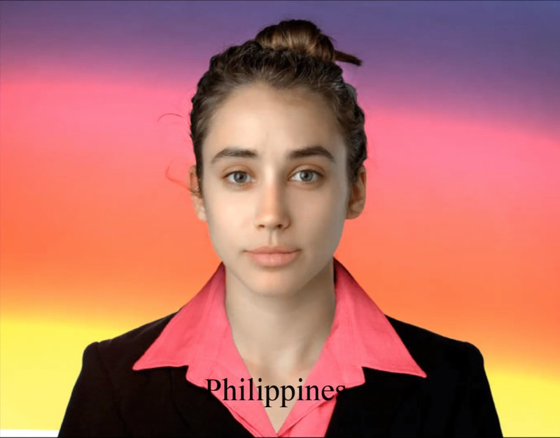 From the Filipino artist she got only emphasized lips and a business outfit.