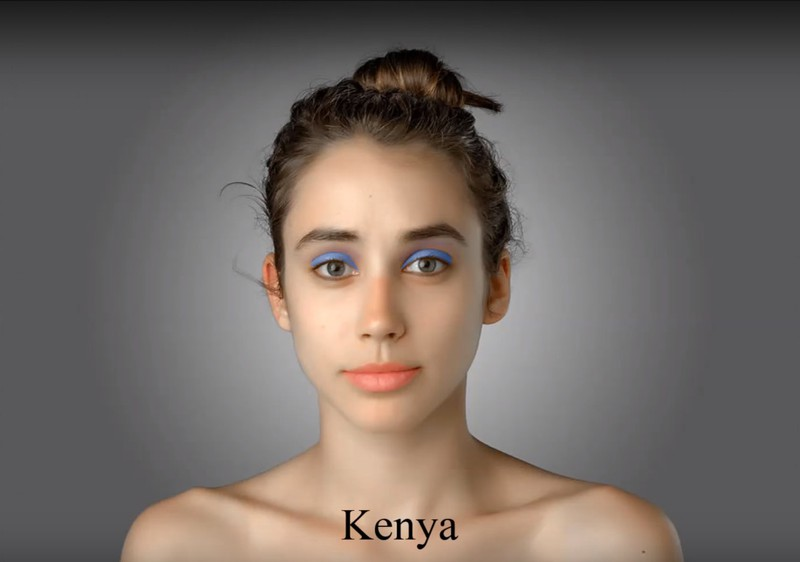 In Kenya, the journalist would have to wear bright blue eye shadow to come closer to the ideal of beauty.
